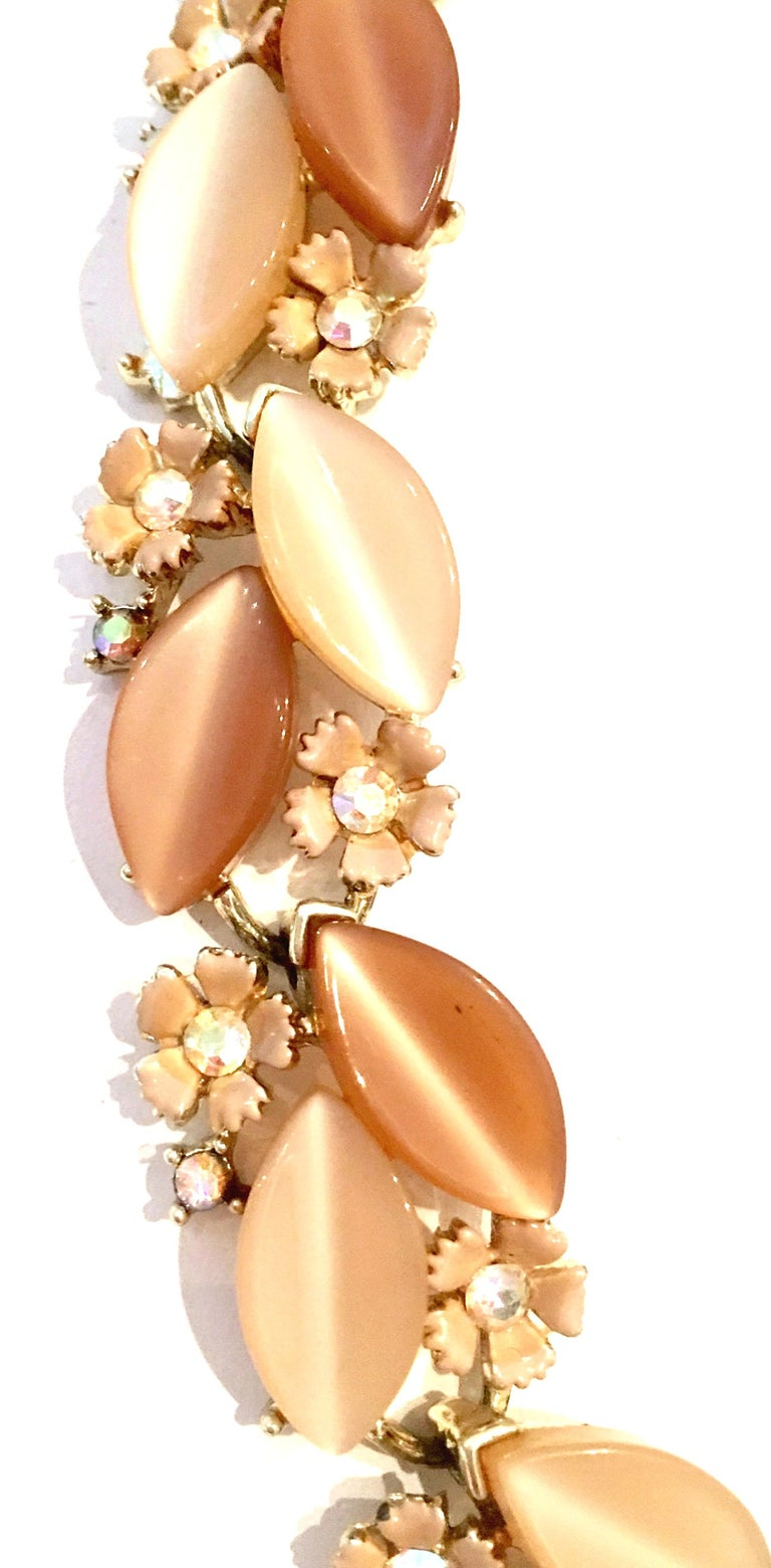 Women's or Men's 1950'S Gilt Gold Lucite & Austrian Crystal Necklace And Earrings S/3 By, Lisner For Sale