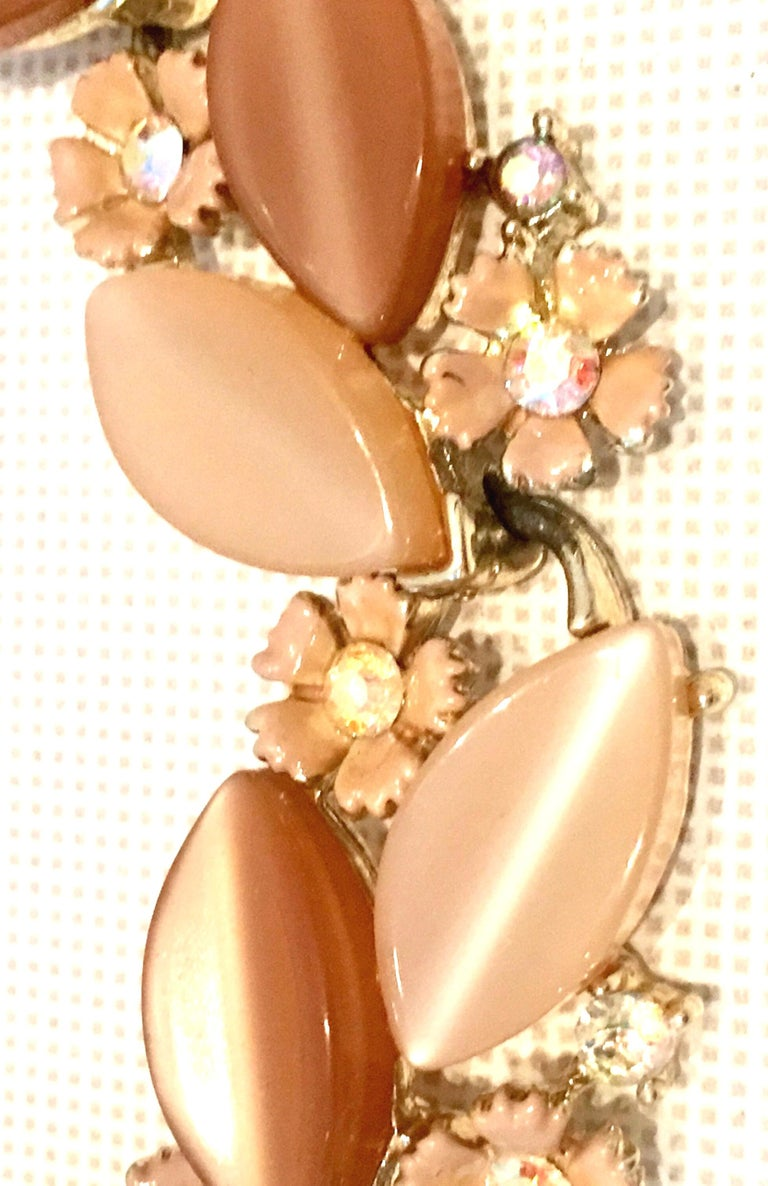 1950'S Gilt Gold Lucite & Austrian Crystal Necklace And Earrings S/3 By, Lisner For Sale 1
