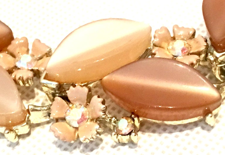 1950'S Gilt Gold Lucite & Austrian Crystal Necklace And Earrings S/3 By, Lisner For Sale 2