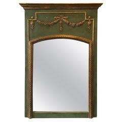 1950s French Green Trumeau Mirror With Gilt Accents