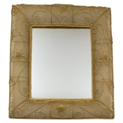 1950s Gilt Metal Wire Mesh Wall Mirror