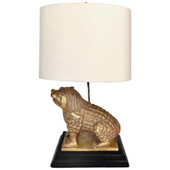 1950s Gilt Pottery Foo Dog Lamp, after Tony Duquette