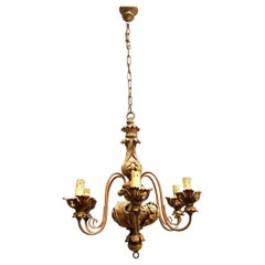 1950s Giltwood Acanthus Leaf Decoration Chandelier Tole Hollywood Regency