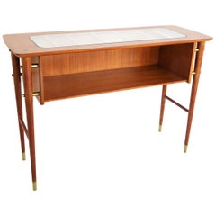 1950s Gio Ponti Style Petite Console Table with Shelf in Blond Mahogany