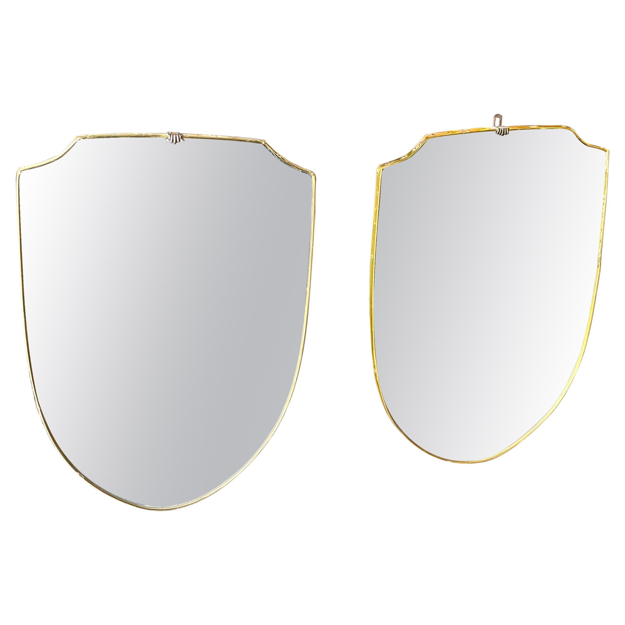 1950s Giò Ponti Style Set of Two Mid-Century Modern Italian Brass Wall Mirror