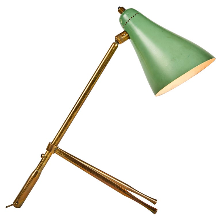 "1950s Giuseppe Ostuni ""Ochetta"" Green Wall or Table Lamp for O-Luce For Sale"