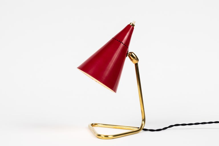 Mid-20th Century 1950s Giuseppe Ostuni Red Cone Table Lamp for Oluce For Sale