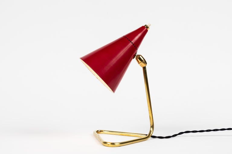 Metal 1950s Giuseppe Ostuni Red Cone Table Lamp for Oluce For Sale