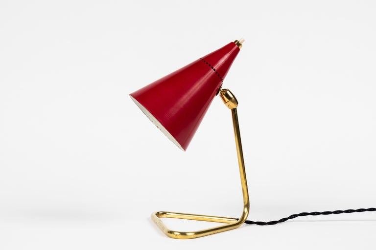 1950s Giuseppe Ostuni Red Cone Table Lamp for Oluce For Sale 1