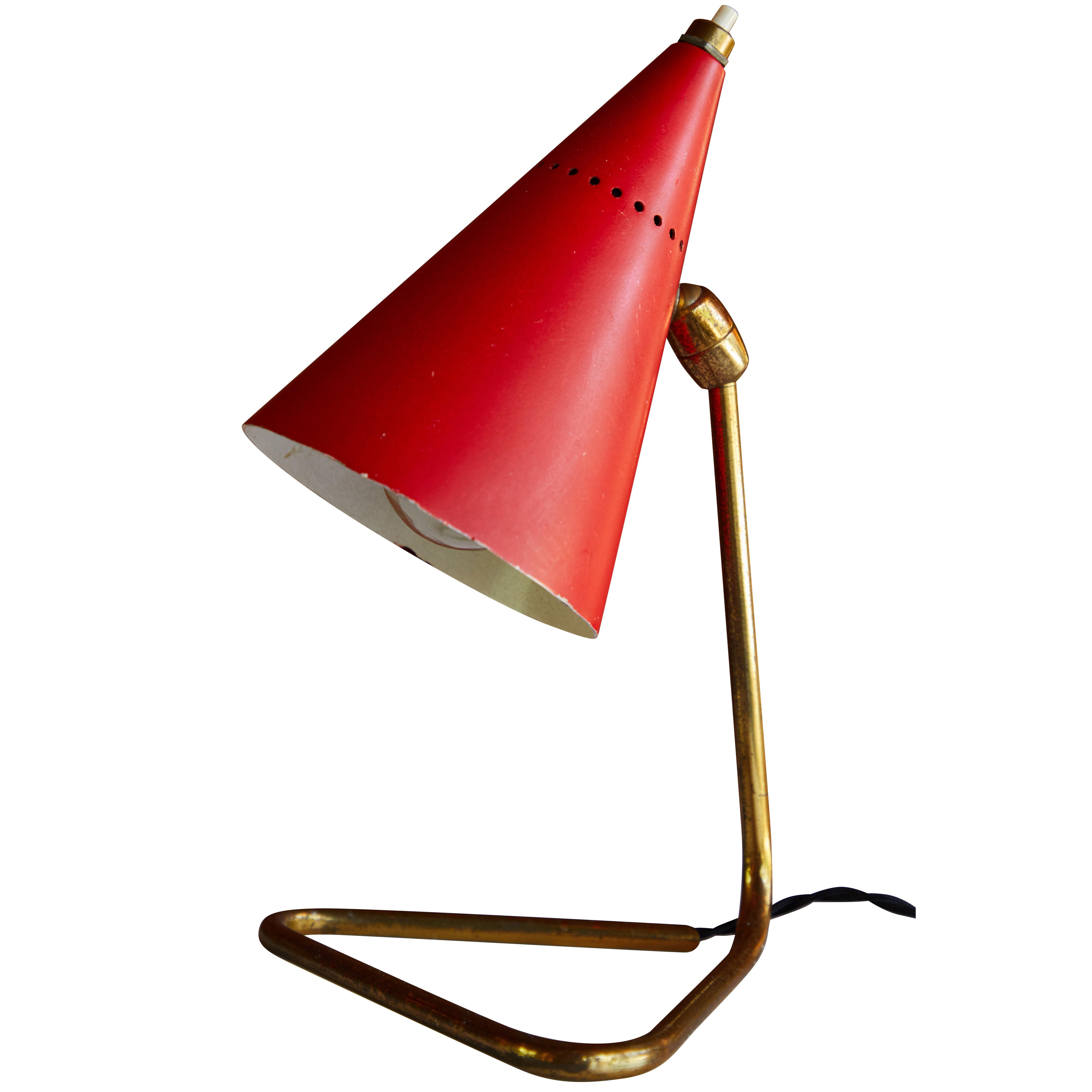 1950s Giuseppe Ostuni Red Cone Table Lamp for Oluce