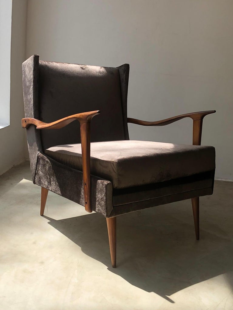 Wood 1950's Giuseppe Scapinelli Pair of Armchairs For Sale