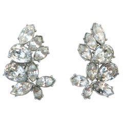 1950s Givenchy Clear Rhinestone Clip-on Earrings
