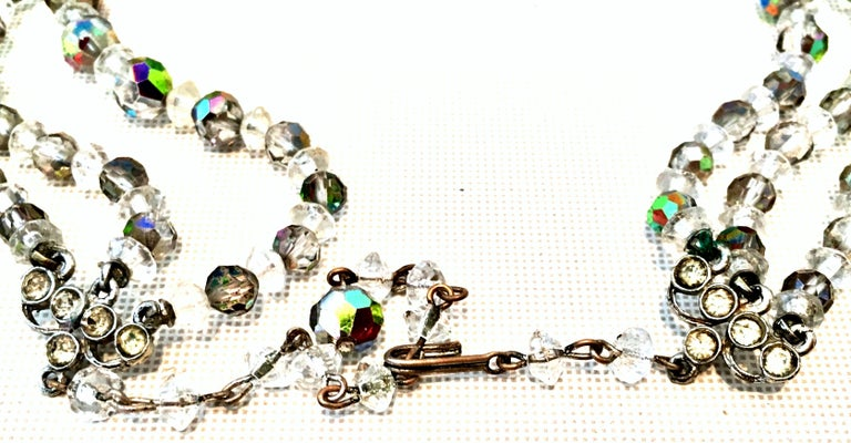 1950'S Glass Bead Triple Strand Choker Style Necklace By, Laguna For Sale 7