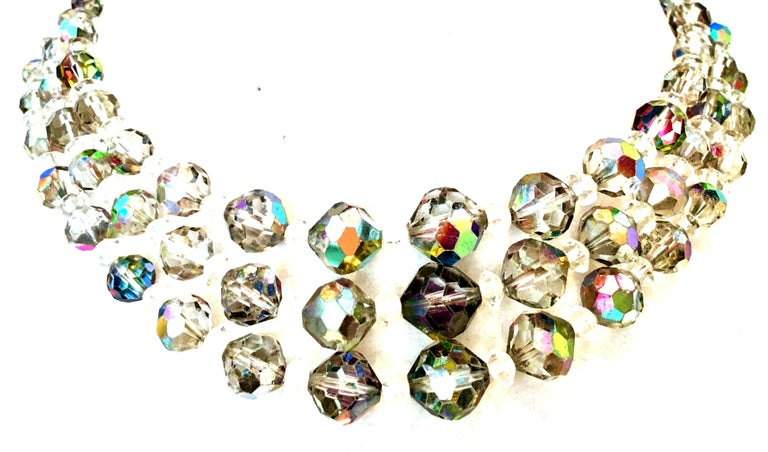 1950'S Glass Bead Triple Strand Choker Style Necklace By, Laguna In Good Condition For Sale In West Palm Beach, FL