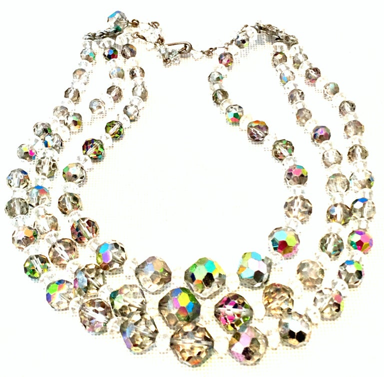 1950'S Glass Bead Triple Strand Choker Style Necklace By, Laguna For Sale 2