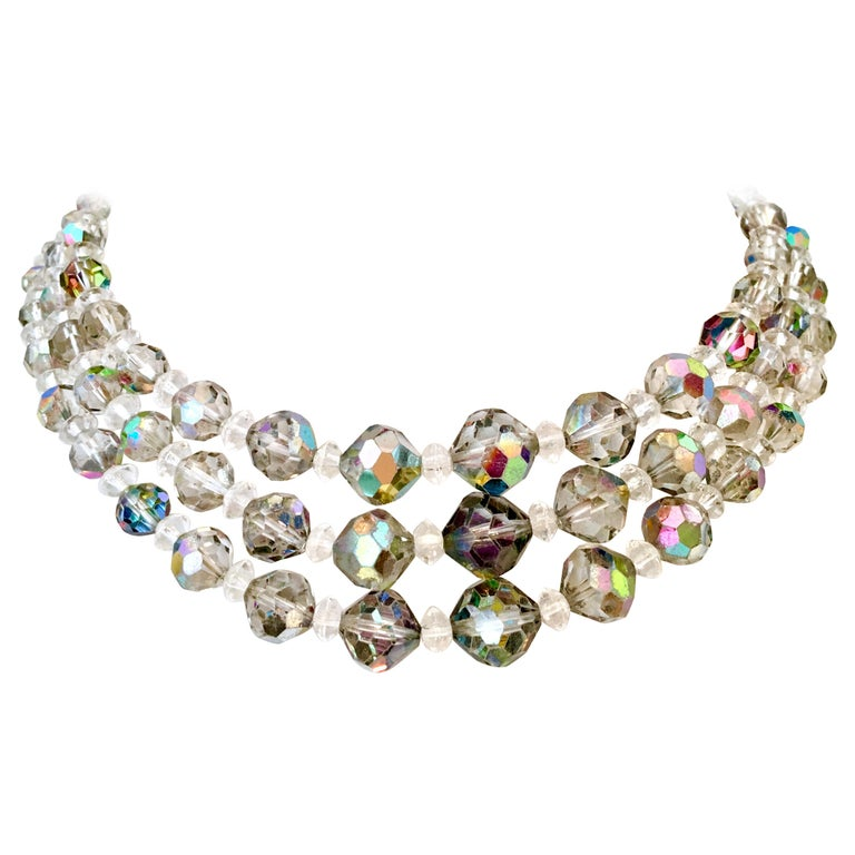 1950'S Glass Bead Triple Strand Choker Style Necklace By, Laguna For Sale