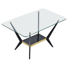 1950s Glass, Brass and Metal Italian Design Coffee Table by Angelo Ostuni