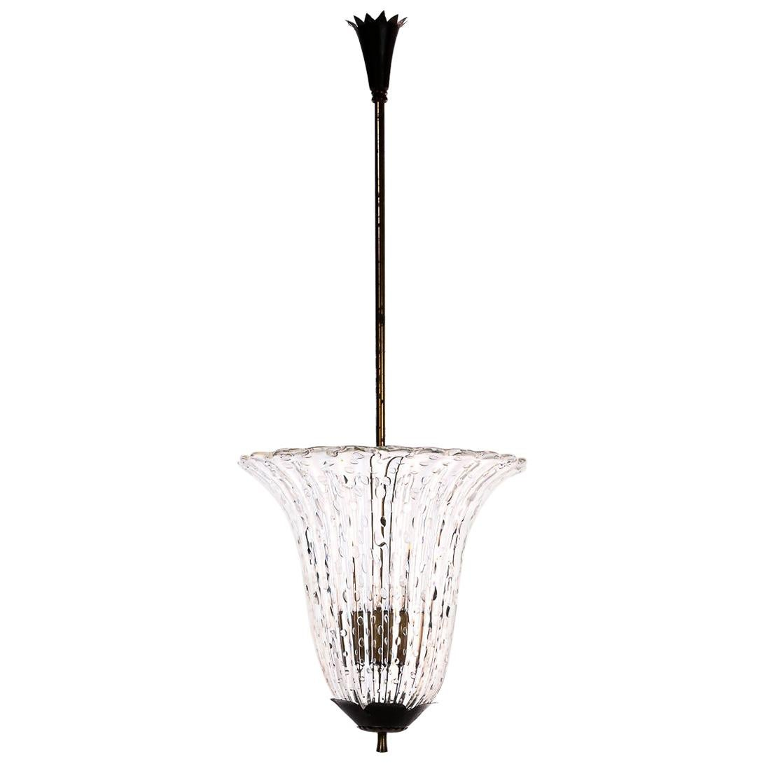 1950s Glass and Brass Chandelier Attributed to Venini