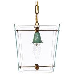 1950's Glass & Brass Lantern in Style of Fontana Arte