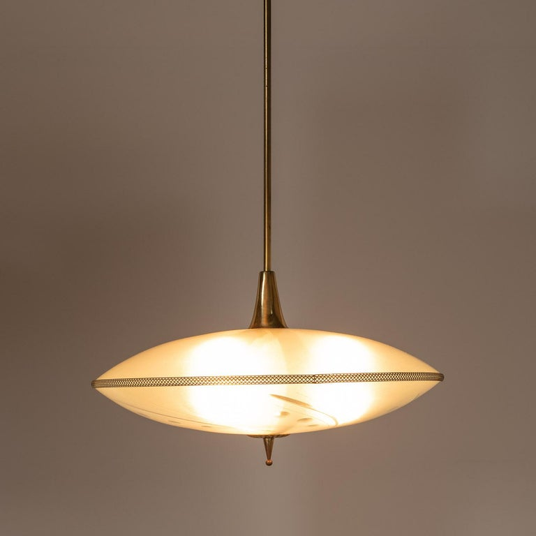 1950's Glass & Brass Pendant in Style of Pietro Chiesa For Sale 6