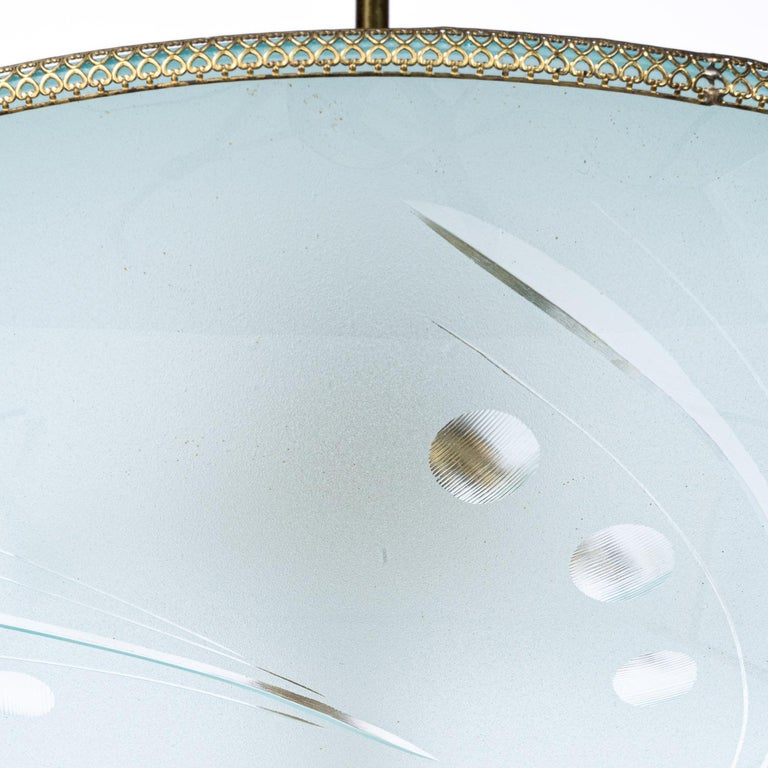 1950's Glass & Brass Pendant in Style of Pietro Chiesa For Sale 2