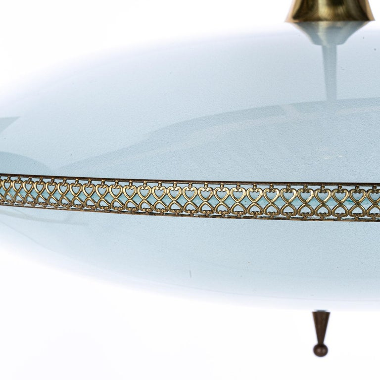 1950's Glass & Brass Pendant in Style of Pietro Chiesa For Sale 4