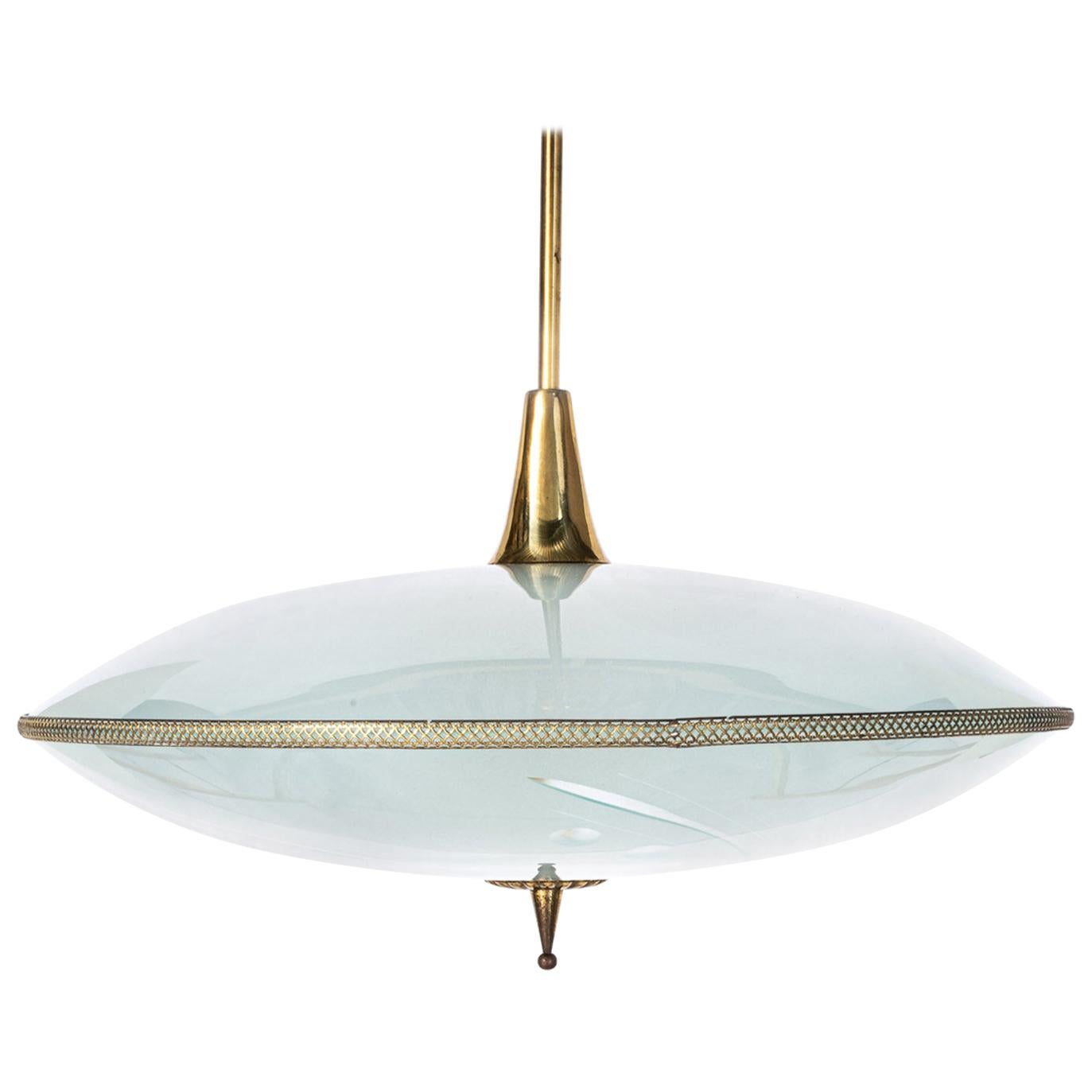 1950's Glass & Brass Pendant in Style of Pietro Chiesa