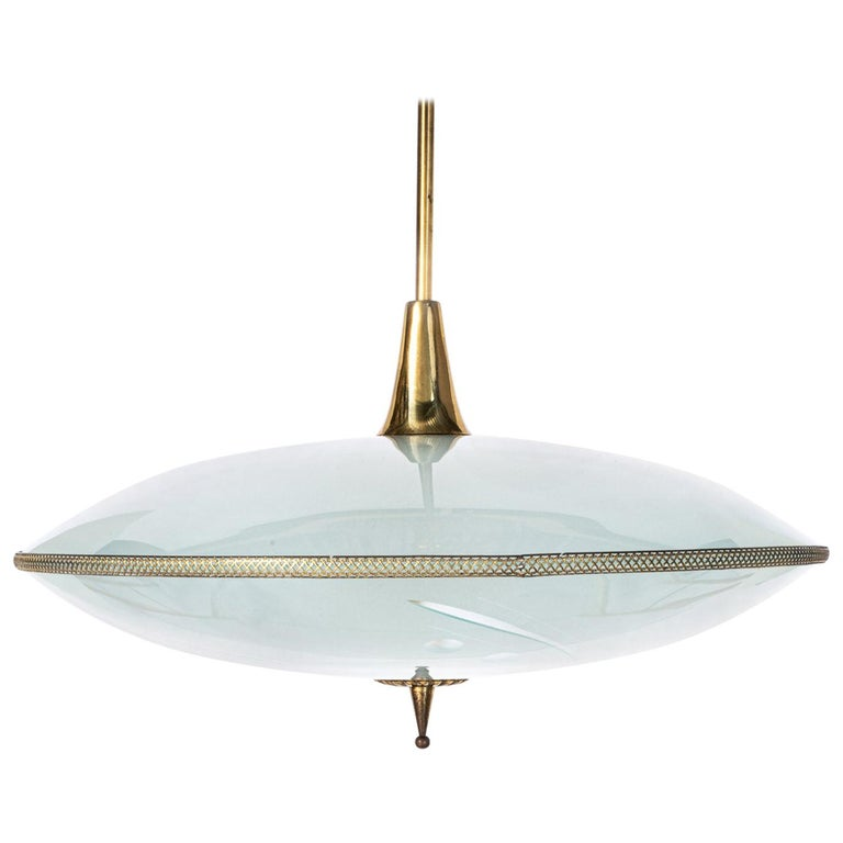 1950's Glass & Brass Pendant in Style of Pietro Chiesa For Sale