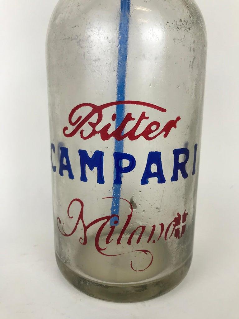 Mid-Century Modern 1950s Glass Italian Vintage Soda Syphon Seltzer Bitter Campari Milano Bar Bottle For Sale