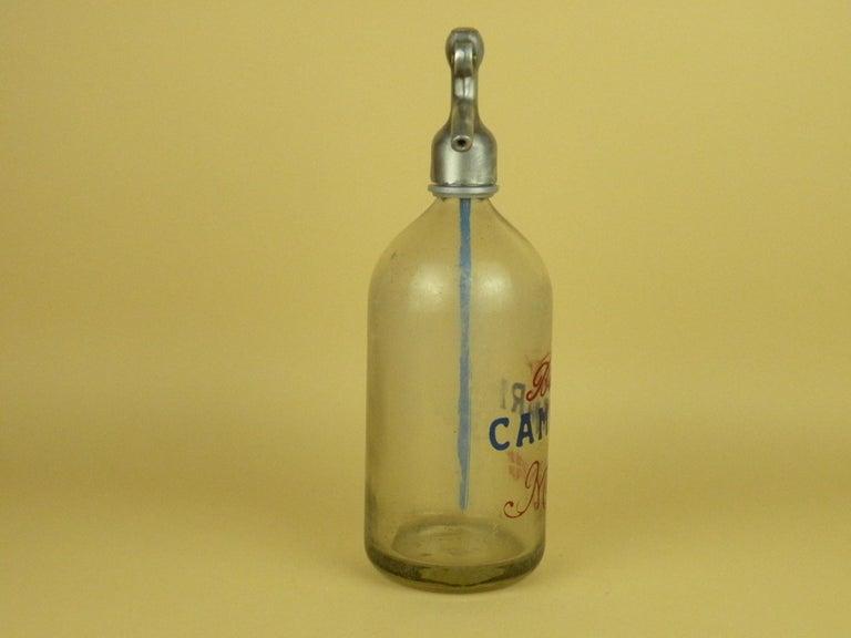 Mid-20th Century 1950s Glass Italian Vintage Soda Syphon Seltzer Bitter Campari Milano Bar Bottle For Sale