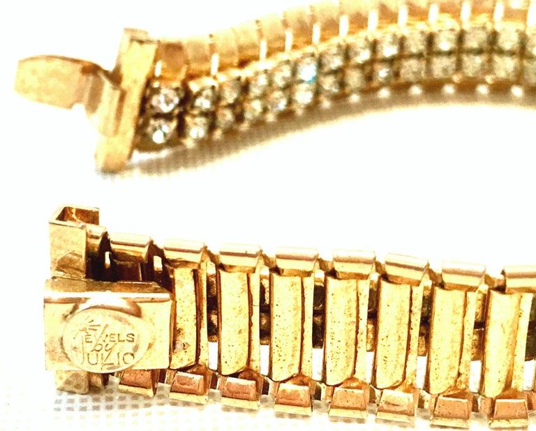 1950'S Gol & Swarovski Crystal Rhinestone Link Bracelet By, Jewels By Julio For Sale 6