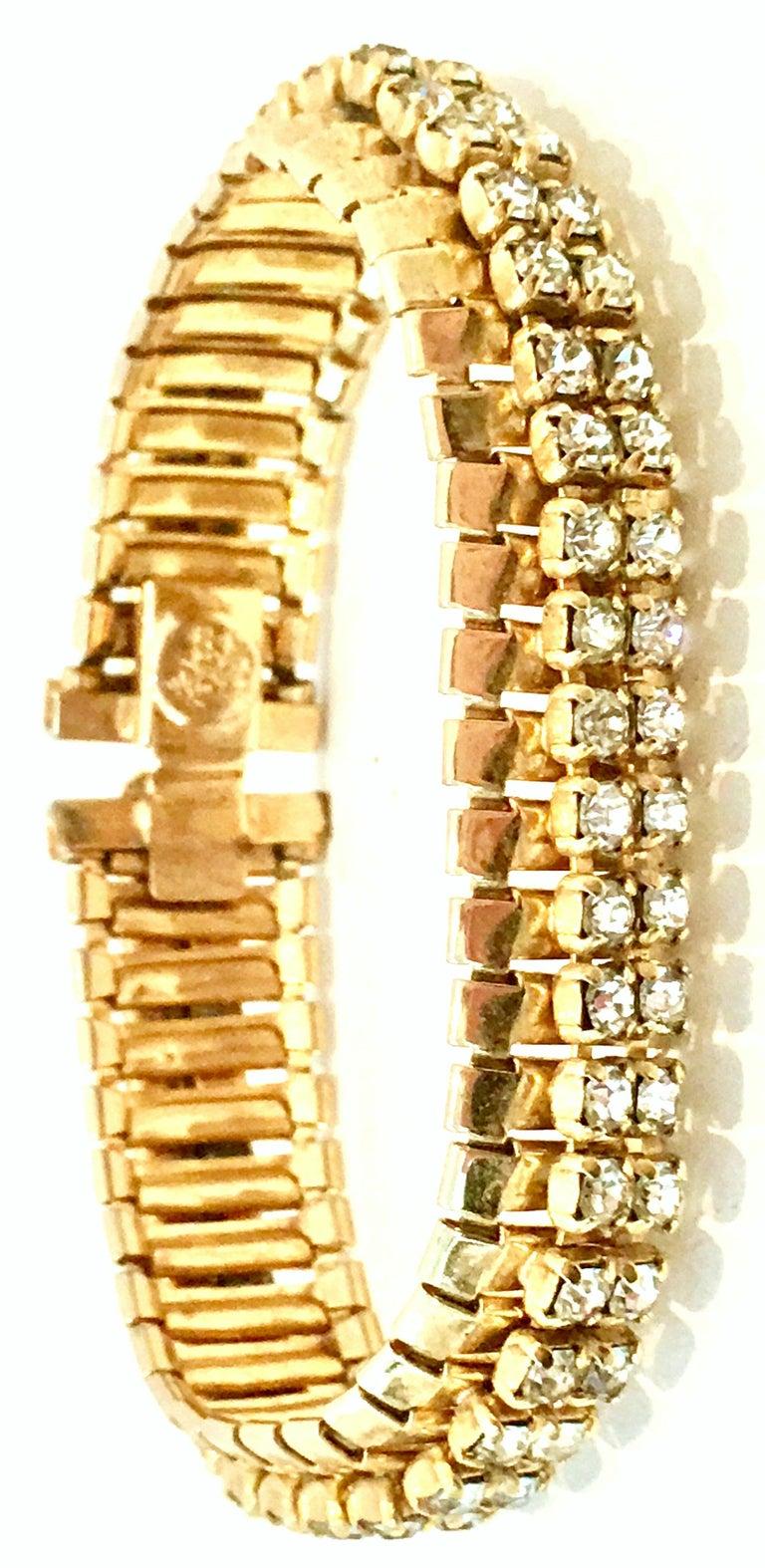 1950'S Gol & Swarovski Crystal Rhinestone Link Bracelet By, Jewels By Julio In Good Condition For Sale In West Palm Beach, FL