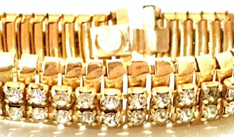 1950'S Gol & Swarovski Crystal Rhinestone Link Bracelet By, Jewels By Julio For Sale 1