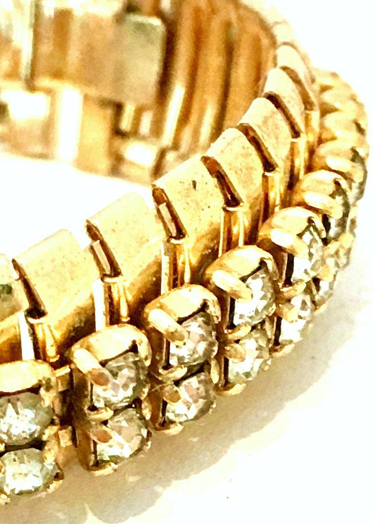 1950'S Gol & Swarovski Crystal Rhinestone Link Bracelet By, Jewels By Julio For Sale 2