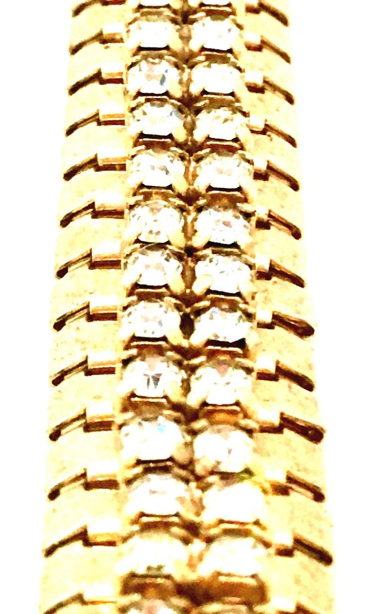 1950'S Gol & Swarovski Crystal Rhinestone Link Bracelet By, Jewels By Julio For Sale 3