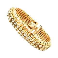 1950'S Gol & Swarovski Crystal Rhinestone Link Bracelet By, Jewels By Julio