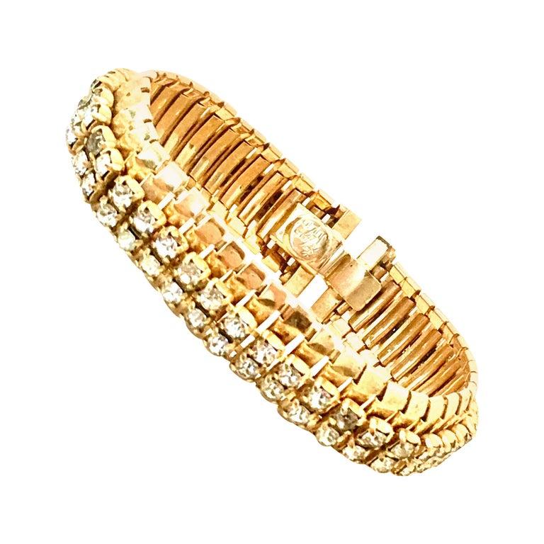 1950'S Gol & Swarovski Crystal Rhinestone Link Bracelet By, Jewels By Julio For Sale