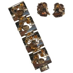 1950s Gold and Amber Topaz Stone Bracelet & Earrings