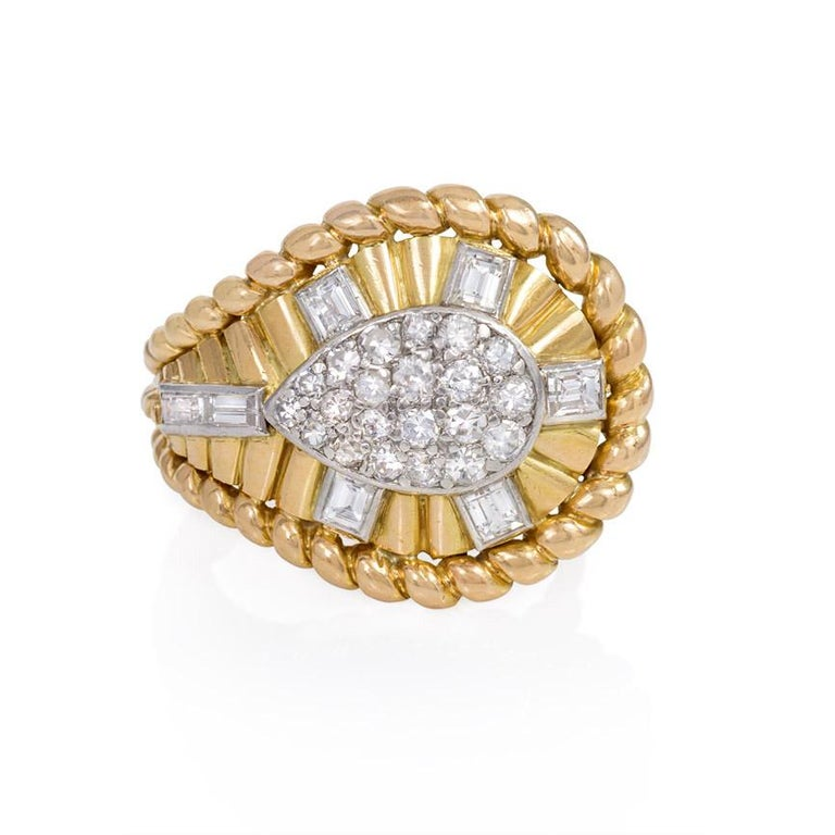 Retro 1950s Gold and Diamond Cocktail Ring of Tapering Architectural Design For Sale