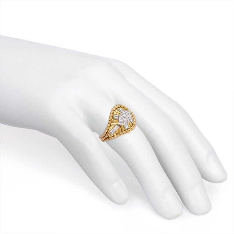 Baguette Cut 1950s Gold and Diamond Cocktail Ring of Tapering Architectural Design For Sale