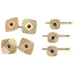 1950s Gold and Sapphire Cufflinks and Shirt Studs Dress Set of Geometric Design