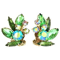 1950'S Gold & Austrian Crystal Abstract Floral Earrings