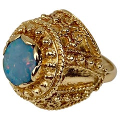 Ring set with a Doublet Opal  in 14k Yellow Gold