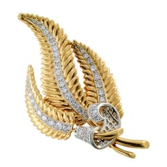 1950s Gold Diamond Fern Frond Brooch