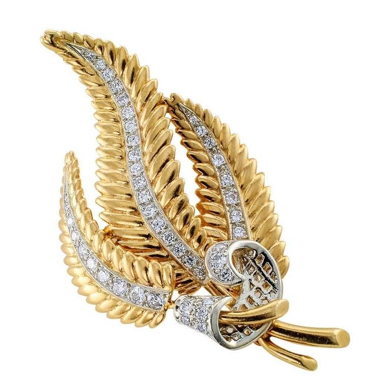1950s Gold Diamond Fern Frond Brooch For Sale