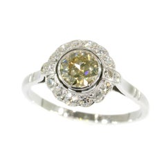 1950s Gold Diamond Ring with Champagne Colored Brilliant '0.70 Carat'