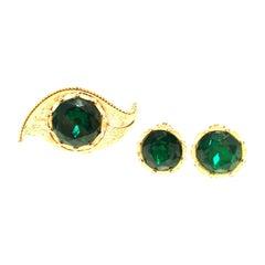 "1950'S Gold & Emerald Art Glass ""Evil Eye"" Demi Parure S/3 By, Charel"