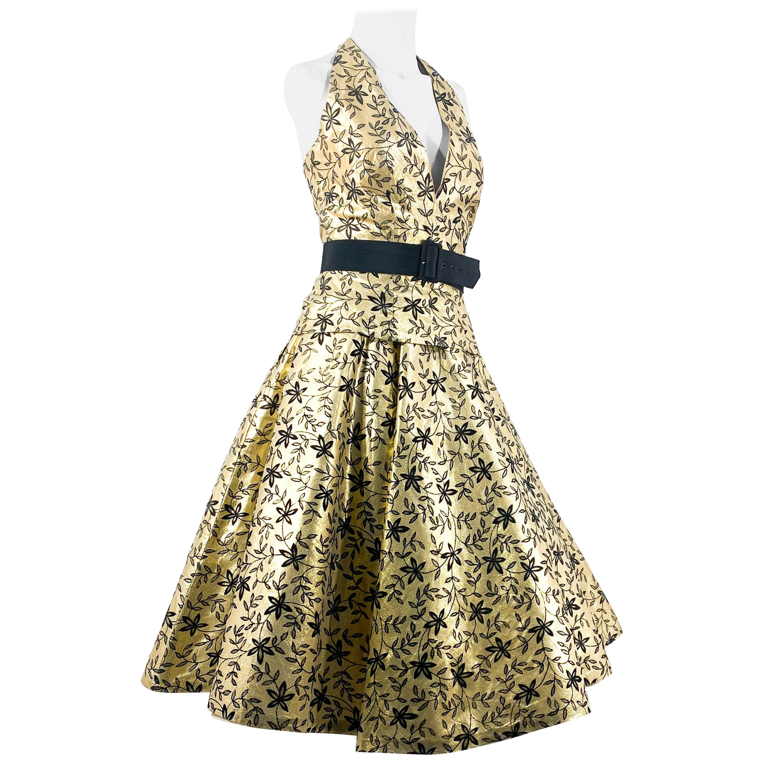 1950s Gold Lamé and Black Two-Piece Cocktail Dress