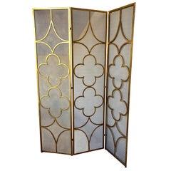 1950s Gold Leaf Finish Room Divider 3-Panel Metal Folding Screen