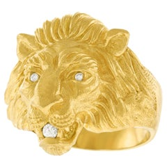 1950s Gold Lion Ring
